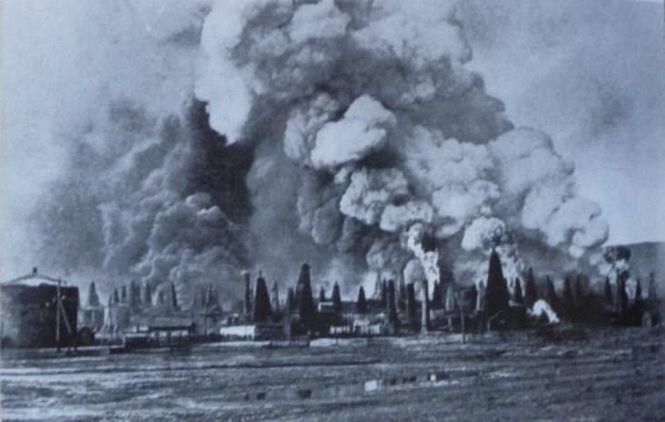 1. Baku oil fields burning