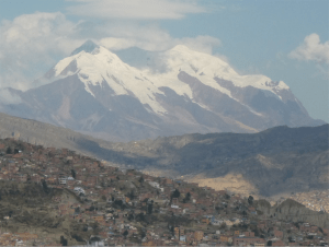 My first view of Illimani was from a tall building in La Paz. The city outskirts can be seen bottom left in the photograph.