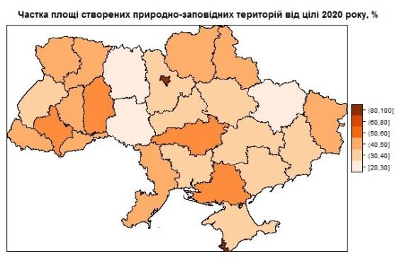 Частка площі створених природно-заповідних територій від цілі 2020 року, %