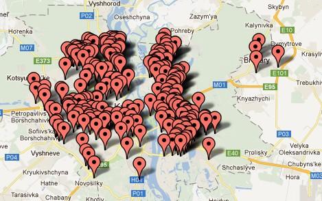 Карта пунктів прийому вторинної сировини Києва та інших міст України