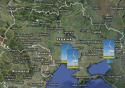 Карта вітрових електростанцій України