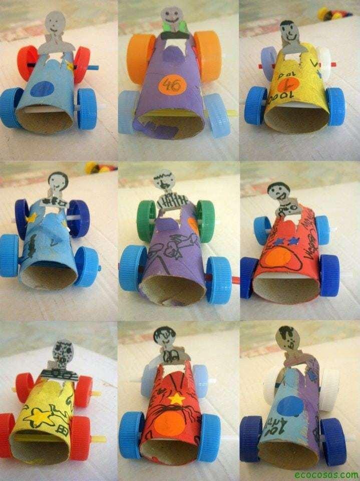 Carrinhos de rolo de papel higienico e tampa de garrafa 10 juguetes hechos con materiales reciclados