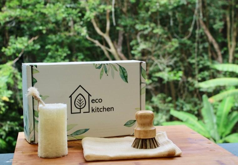 Bamboo and coconut Kitchen Srub brush and biodegradable loofah sponge.