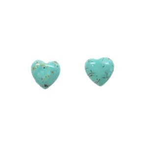 Turquoise heart stud earrings