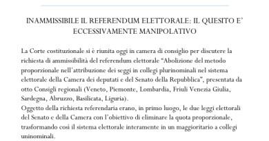 """Referendum elettorale dichiarato  inammissibile, per la Consulta è """"eccessivamente manipolativo"""""""