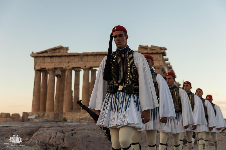 Evzones the Greek Presidential Guard in Acropolis