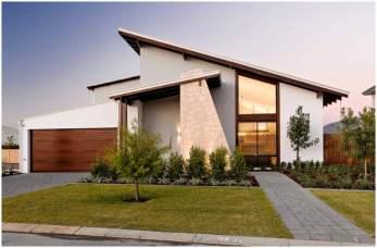 разнонаправленная односкатная крыша у дома