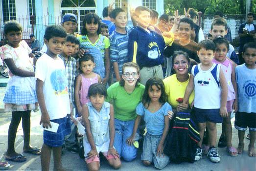 Surrounded by kids at a school in Honduras