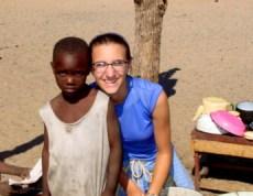 Sena, 7 yrs old, and myself near Etsha 6, Botswana