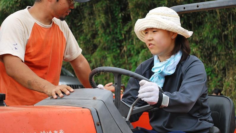 村おこしボランティア中之島コースでトラクターを動かす参加者