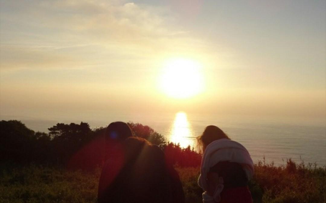 東の空から火山の太陽が!