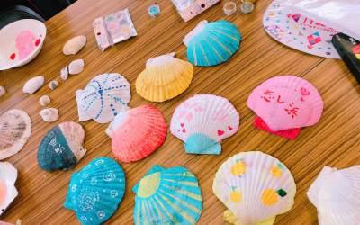 貝殻アートとカツオパーティー