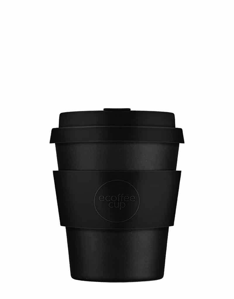 black reusable coffee cup
