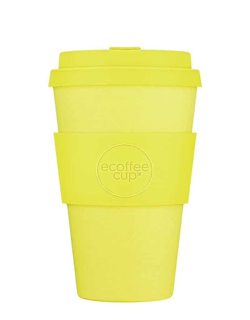 yellow reusable coffee cup