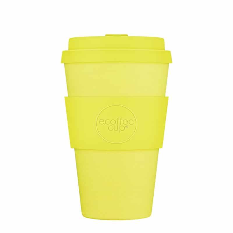 yellow reusable coffee cup