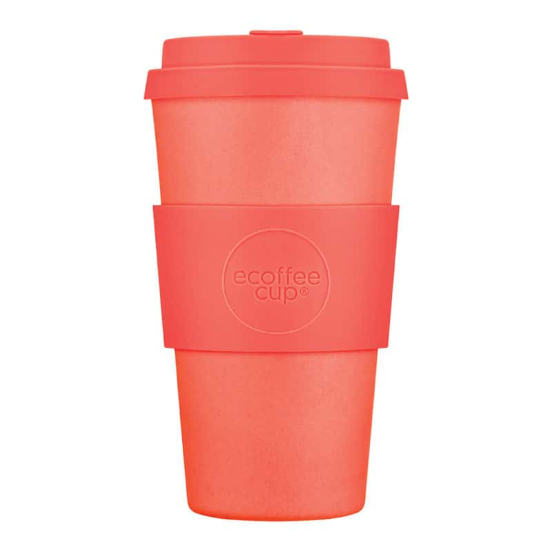 Tall orange sustainable coffee cup