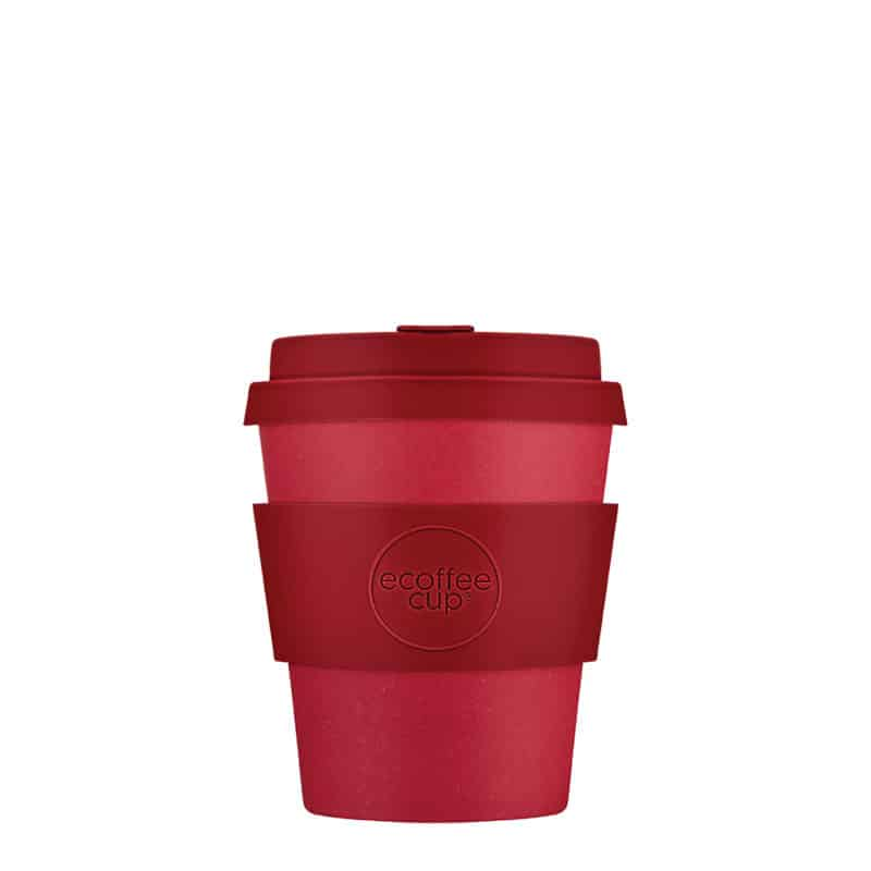 small red reusable cup
