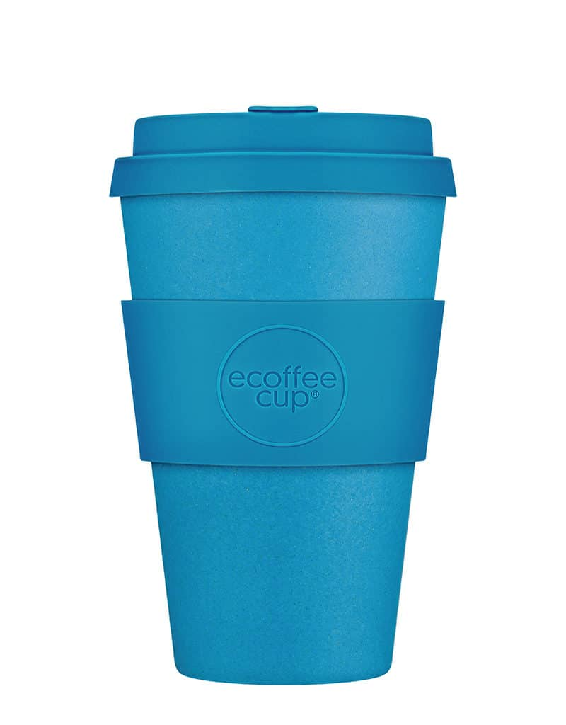 Blue Reusable Coffee Cup with a Lid