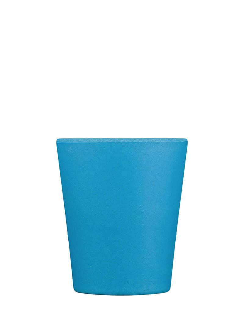 small blue reusable coffee cup