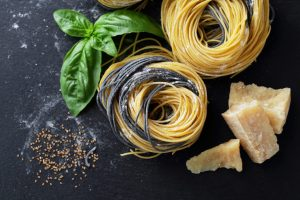 Pasta spirals and basil