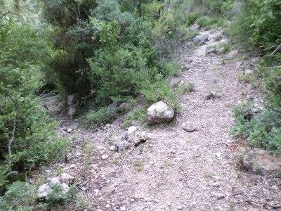 bifurcación izquierda-derecha al Pla de Castellassos