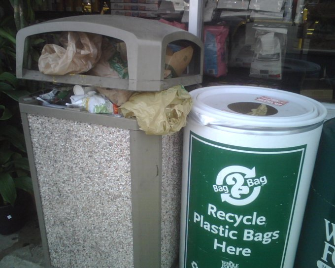 plastic bag recycling bin