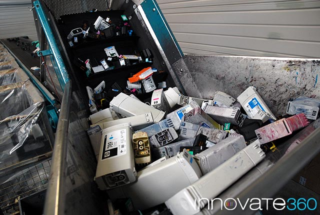 Ink cartridges being recycled