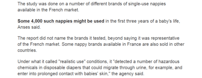 Chemicals in diapers