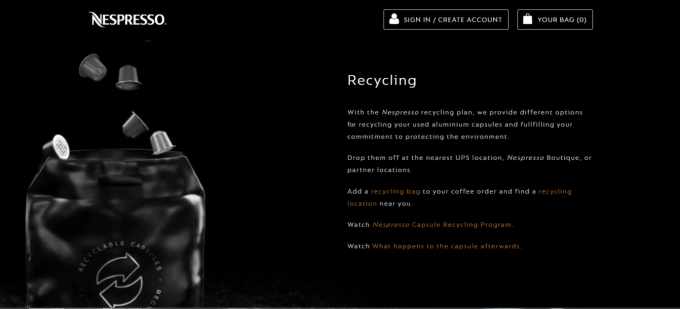 Nespresso recycling page
