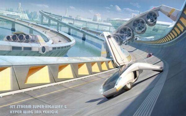 Konsep aliran jet dan hiper xf3 sayap berlayar kendaraan