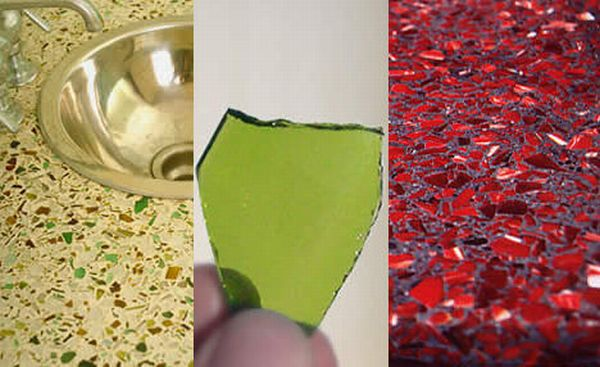 recycled glass kitchen countertops sinks with drainboards エコキッチンのためのベスト・リサイクルガラス・キッチンカウンター - ecofriend