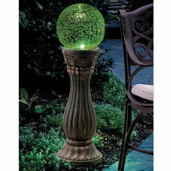 Color changing gazing ball soaks up the sun and lights up