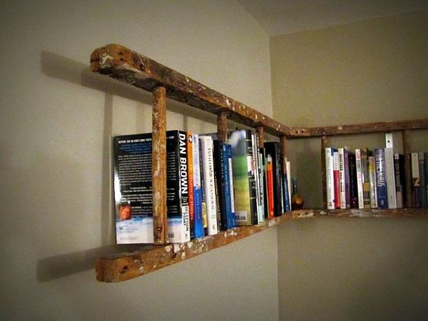 An old ladder bookshelf