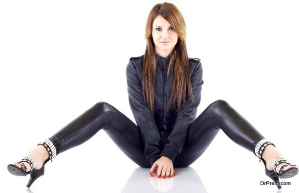 lady in leather pants