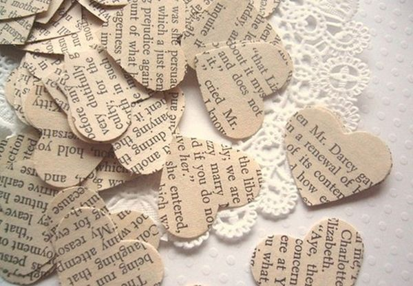 small hearts from newspapers