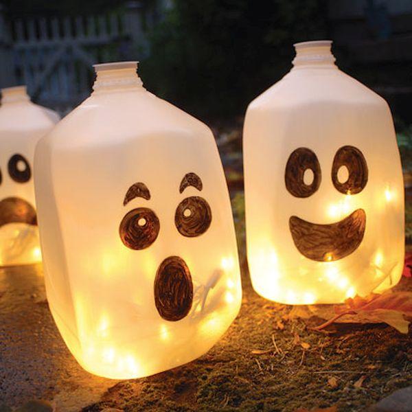 Plastic milk jug lanterns