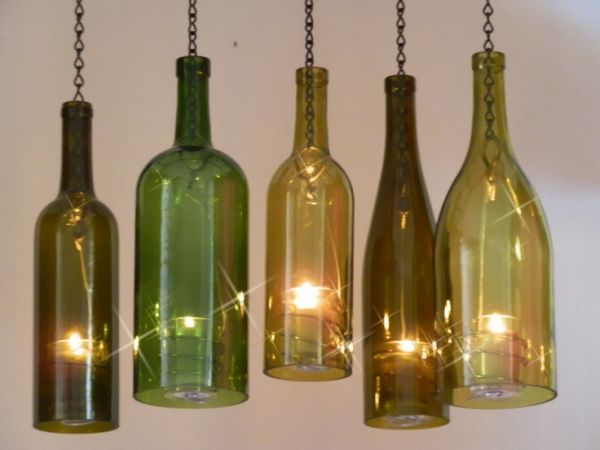 DIY Wine Bottle Hurricane Lamps