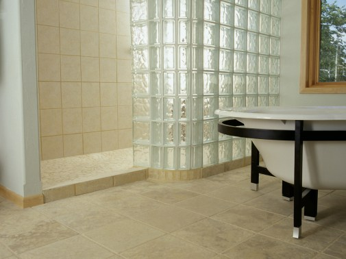 16 inch honed travertine makes for a clean, simple, soft floor