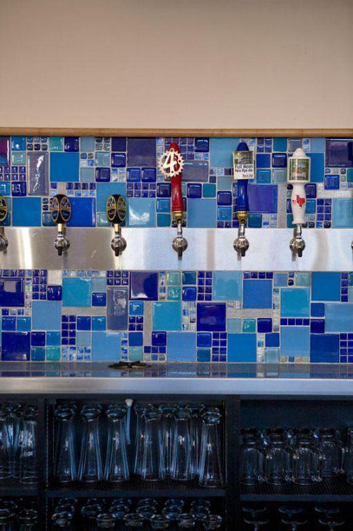 Art Deco melange of blue tile for Square Burger in Dallas, TX