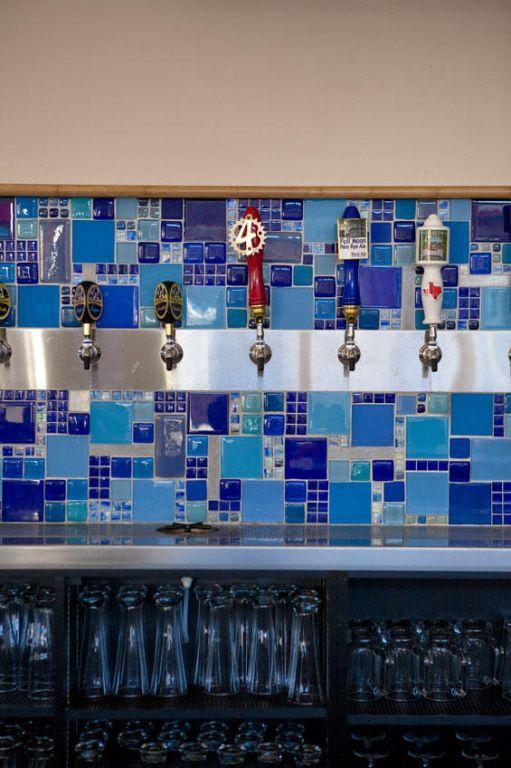 Art Deco melange of blue tile for Square Burger in Dallas, TX