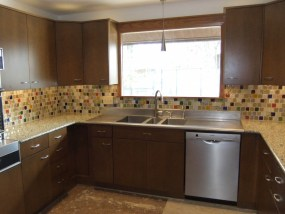 Custom Bubble tile backsplash in Mid-Century Modern Kitchen