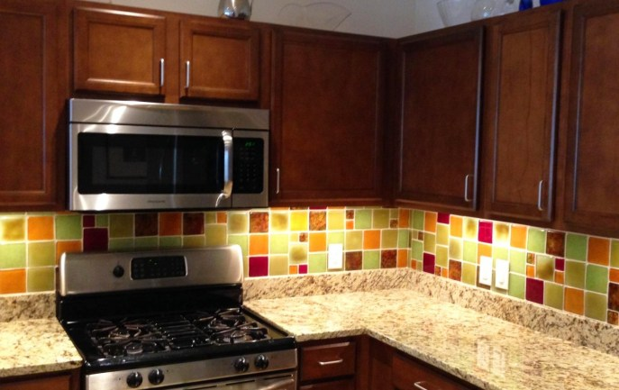 Post Consumer glass backsplash with Celery, Tomato, Honey, Soleil, and Versailles