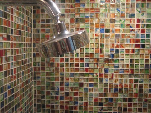 Mixed Murano Glass for a walk-in Shower.