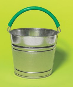 For a handle you can comfortably handle: Snip off a section of an old garden hose, make a slit down its length, and put it over a skinny bucket wire.