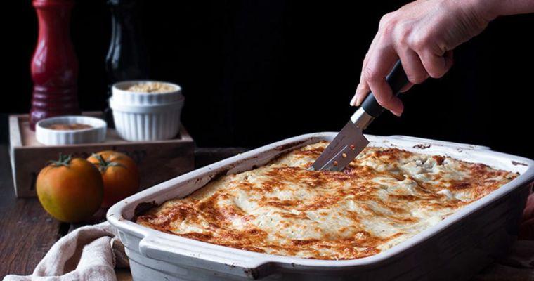 Lasaña vegetariana con bechamel de coliflor