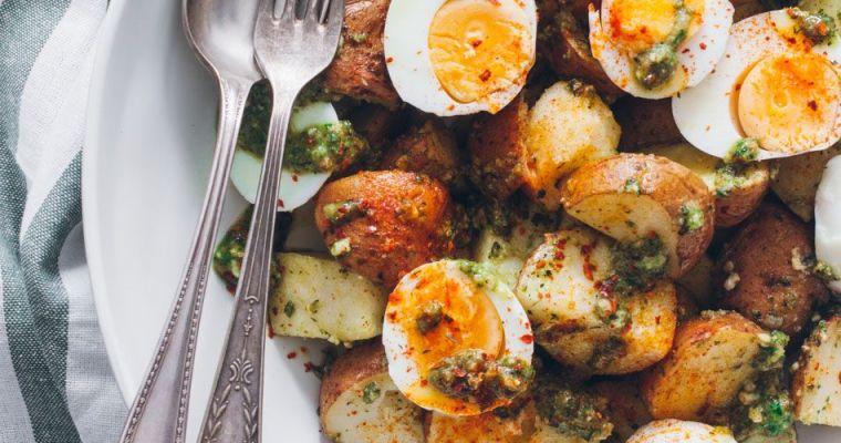 Ensalada de patatas con pesto