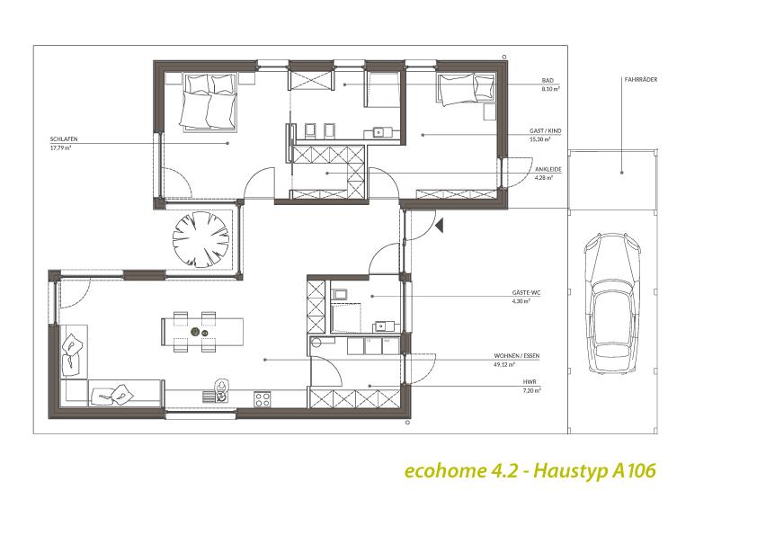 Singlehaus Typ A93106 Atriumbungalow