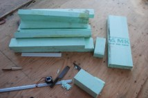 reclaimed insulation foam used to inslate the ends of the roof rafters