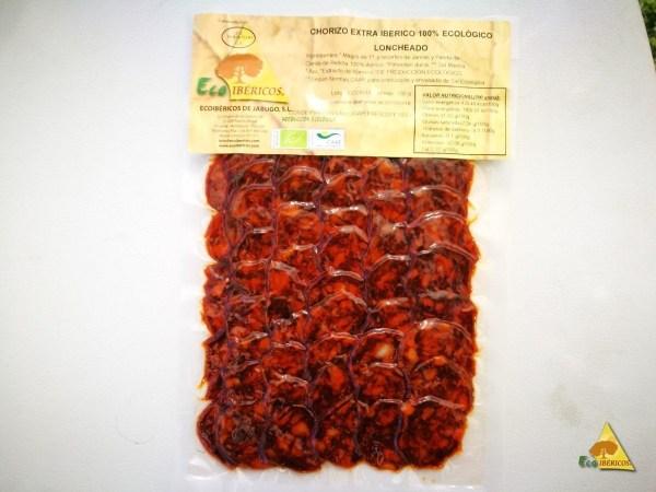 Chorizo EXTRA ecológico de bellota 100% ibérico de bellota. Loncheado
