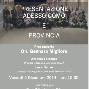 5 dicembre/ Presentazione dell'Associazione Adesso! Como e provincia